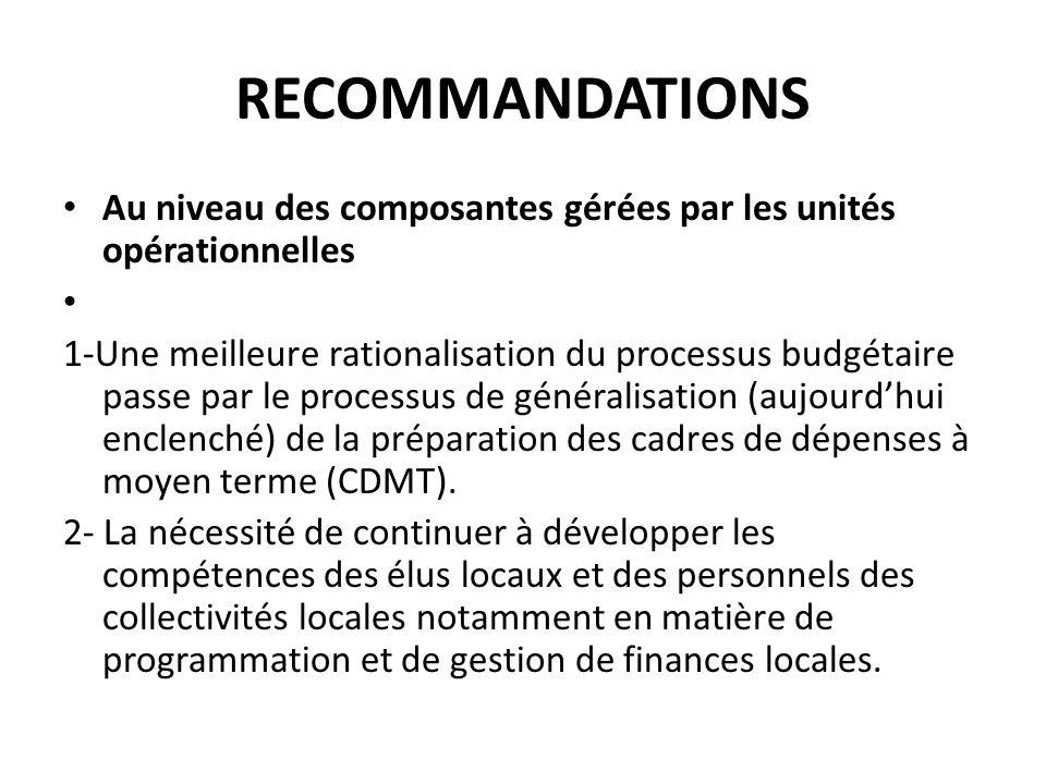 RECOMMANDATIONS Au niveau des composantes gérées par les unités opérationnelles 1-Une meilleure rationalisation du processus budgétaire passe par le p