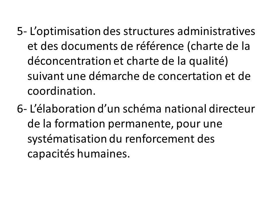 5- Loptimisation des structures administratives et des documents de référence (charte de la déconcentration et charte de la qualité) suivant une démar