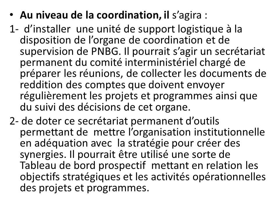 Au niveau de la coordination, il sagira : 1- dinstaller une unité de support logistique à la disposition de lorgane de coordination et de supervision