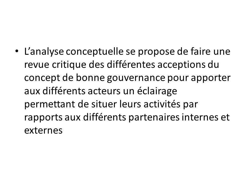 Lanalyse conceptuelle se propose de faire une revue critique des différentes acceptions du concept de bonne gouvernance pour apporter aux différents a