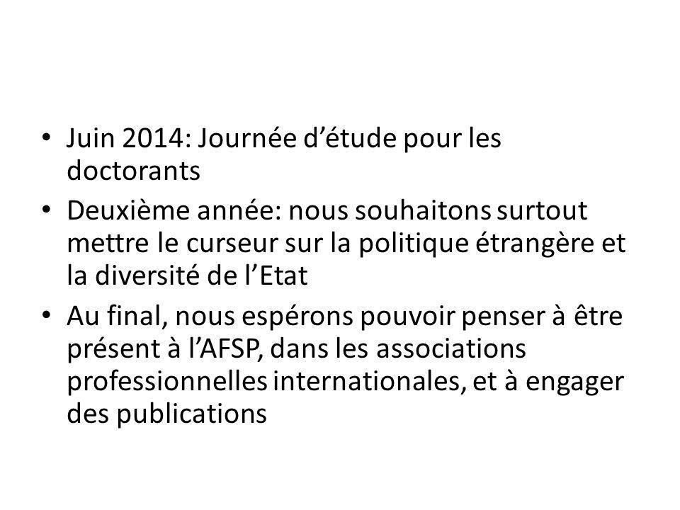 Juin 2014: Journée détude pour les doctorants Deuxième année: nous souhaitons surtout mettre le curseur sur la politique étrangère et la diversité de lEtat Au final, nous espérons pouvoir penser à être présent à lAFSP, dans les associations professionnelles internationales, et à engager des publications
