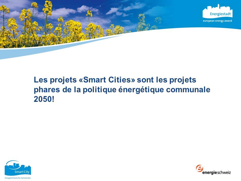 Les «Smart Cities» en Suisse Participation de villes et de communes Lancement de projets de recherche, de projet P+D et/ou de projets phares: Votre conseiller Cité de lénergie peut vous prêter main forte.