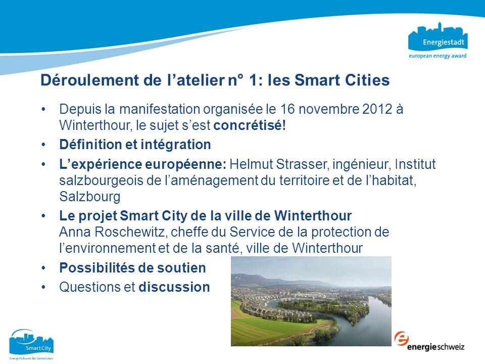 Déroulement de latelier n° 1: les Smart Cities Depuis la manifestation organisée le 16 novembre 2012 à Winterthour, le sujet sest concrétisé! Définiti
