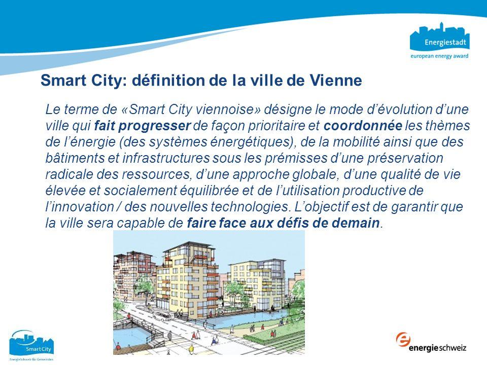 Smart City: définition de la ville de Vienne Le terme de «Smart City viennoise» désigne le mode dévolution dune ville qui fait progresser de façon pri