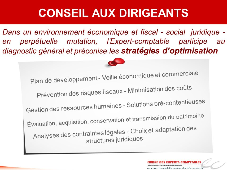 www.experts-comptables-poitou-charentes-vendee.fr Dans un environnement économique et fiscal - social juridique - en perpétuelle mutation, lExpert-com