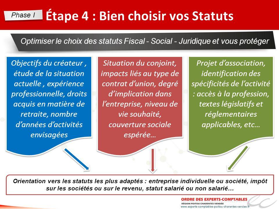 www.experts-comptables-poitou-charentes-vendee.fr Étape 4 : Bien choisir vos Statuts Optimiser le choix des statuts Fiscal - Social - Juridique et vou