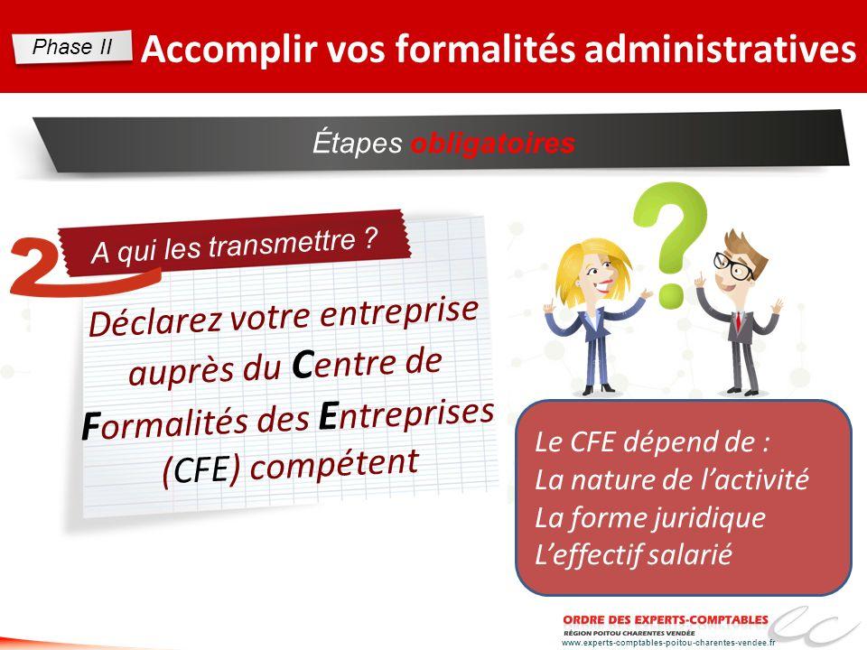 www.experts-comptables-poitou-charentes-vendee.fr Étapes obligatoires Accomplir vos formalités administratives A qui les transmettre ? Le CFE dépend d