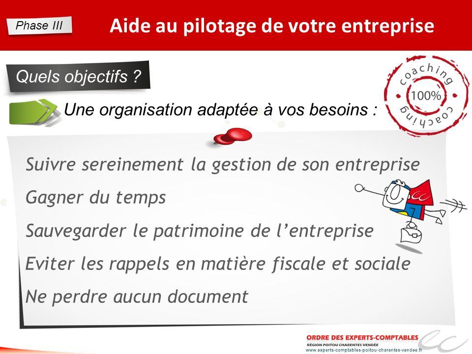 www.experts-comptables-poitou-charentes-vendee.fr Une organisation adaptée à vos besoins : Aide au pilotage de votre entreprise Quels objectifs ? Suiv