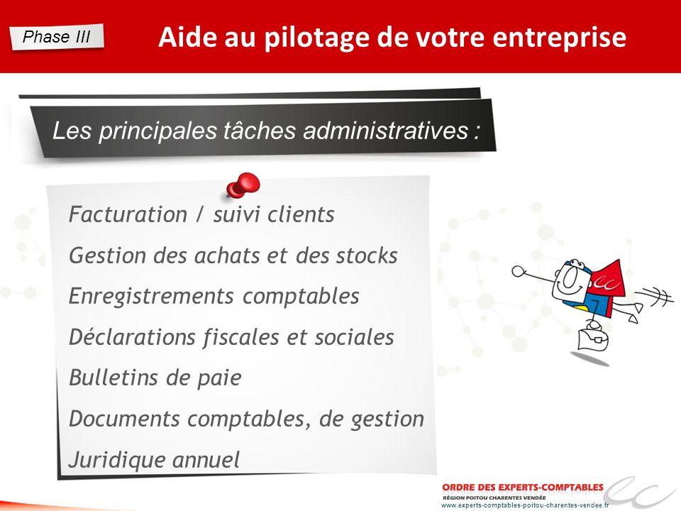 www.experts-comptables-poitou-charentes-vendee.fr Aide au pilotage de votre entreprise Les principales tâches administratives : Facturation / suivi cl