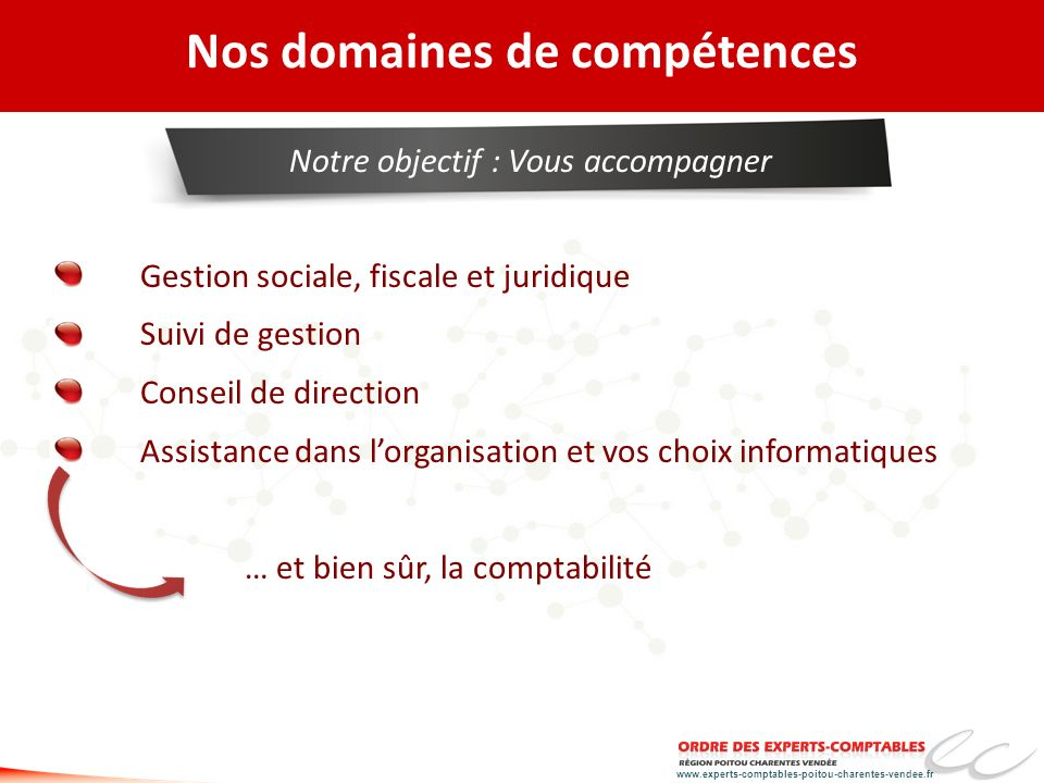 www.experts-comptables-poitou-charentes-vendee.fr http://poitou-charentes-vendee.creer-accompagner.fr/ 3 PHASES IMPORTANTES Phase 1 ANALYSE & FINALISATION DU PROJET DE CRÉATION / REPRISE Phase 2 PRÉPARATION Á LACCOMPLISSEMENT DES FORMALITÉS Phase 3 ACCOMPAGNEMENT POST-CRÉATION REPRISE