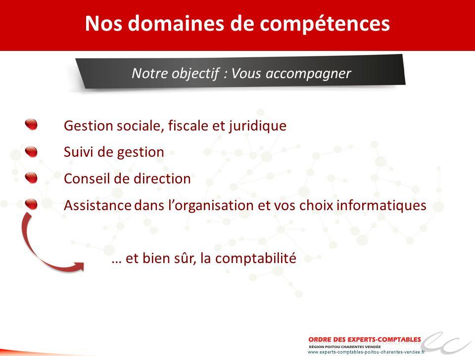 www.experts-comptables-poitou-charentes-vendee.fr Nos domaines de compétences Gestion sociale, fiscale et juridique Suivi de gestion Conseil de direct