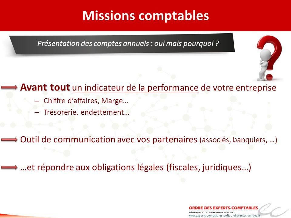 www.experts-comptables-poitou-charentes-vendee.fr Missions comptables Avant tout un indicateur de la performance de votre entreprise – Chiffre daffair