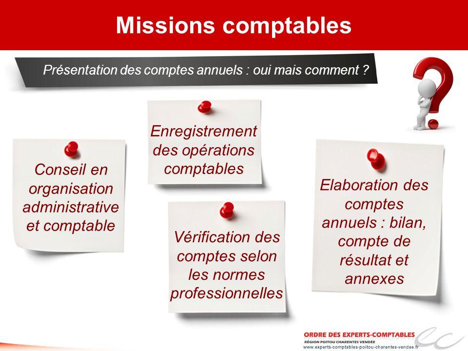 www.experts-comptables-poitou-charentes-vendee.fr Elaboration des comptes annuels : bilan, compte de résultat et annexes Missions comptables Présentat