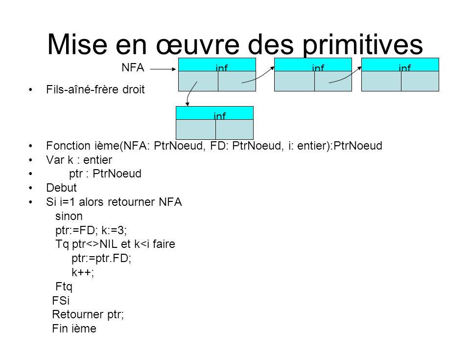 Mise en œuvre des primitives Fils-aîné-frère droit Fonction ième(NFA: PtrNoeud, FD: PtrNoeud, i: entier):PtrNoeud Var k : entier ptr : PtrNoeud Debut Si i=1 alors retourner NFA sinon ptr:=FD; k:=3; Tq ptr<>NIL et k<i faire ptr:=ptr.FD; k++; Ftq FSi Retourner ptr; Fin ième inf o NFA