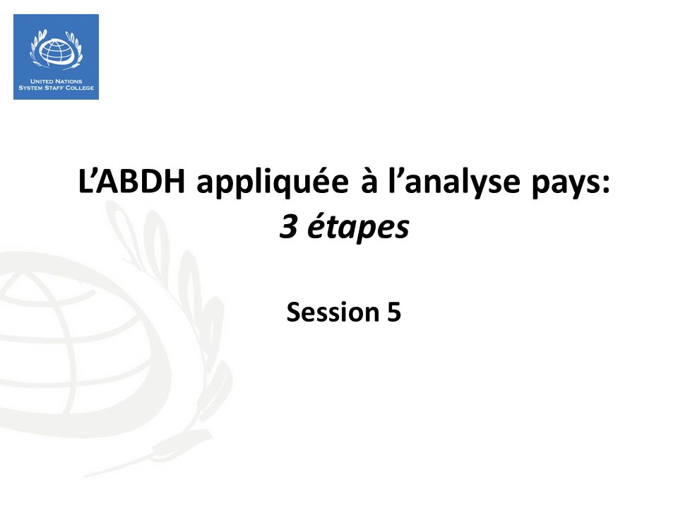 Objectifs de la session Compendre la valeur ajoutée de l ABDH dans une analyse pays et dans la programmation des NU Appliquer l ABDH à lanalyse de défis de développement dans un cas concret en trois étapes: analyse causale, analyse des rôles et analyse de lécart de capacités