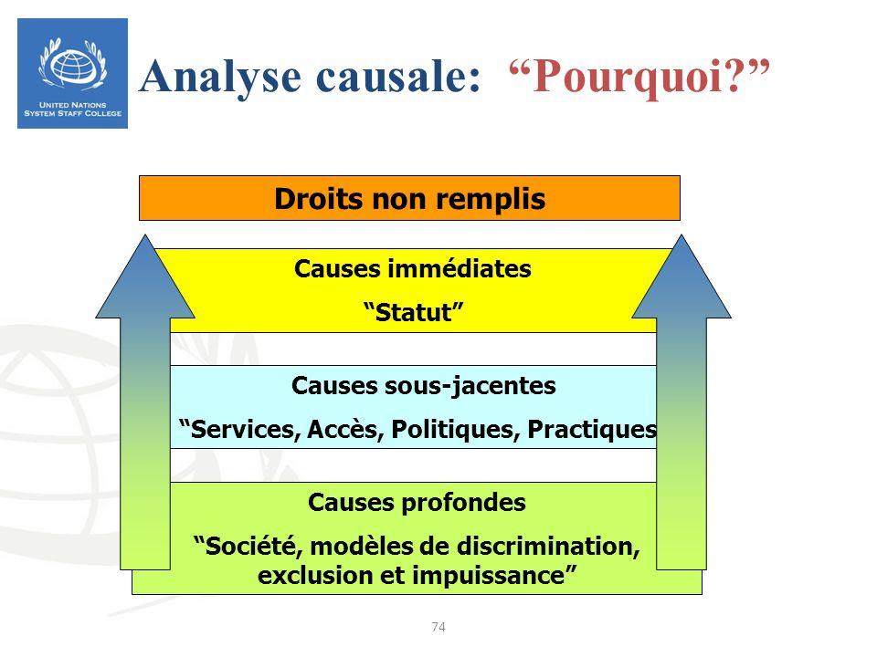 74 Droits non remplis Causes profondes Société, modèles de discrimination, exclusion et impuissance Causes sous-jacentes Services, Accès, Politiques,