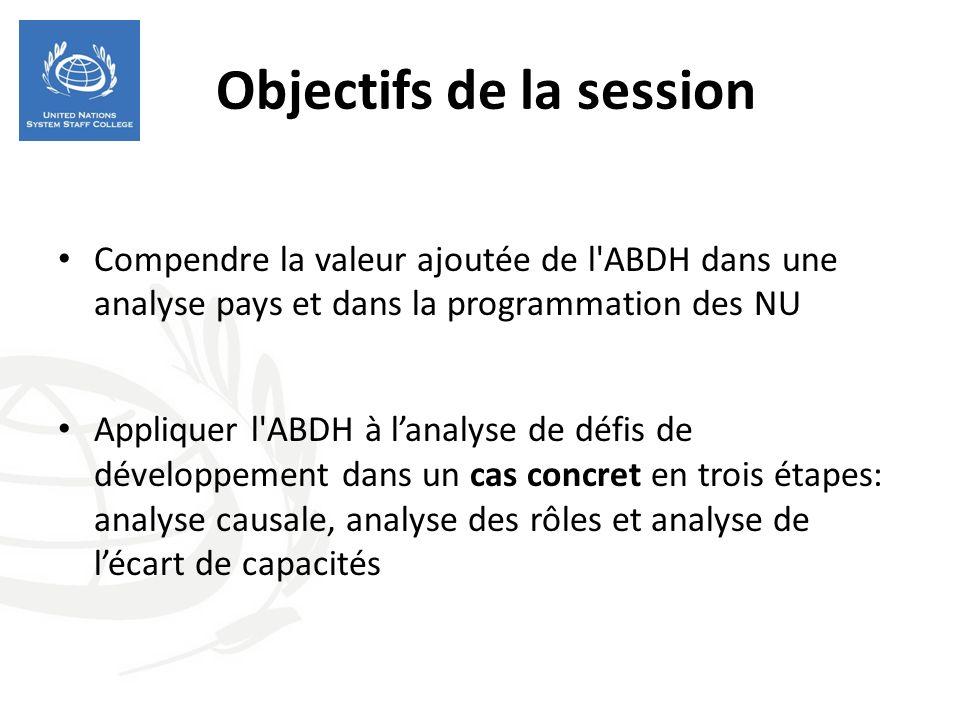 Objectifs de la session Compendre la valeur ajoutée de l'ABDH dans une analyse pays et dans la programmation des NU Appliquer l'ABDH à lanalyse de déf