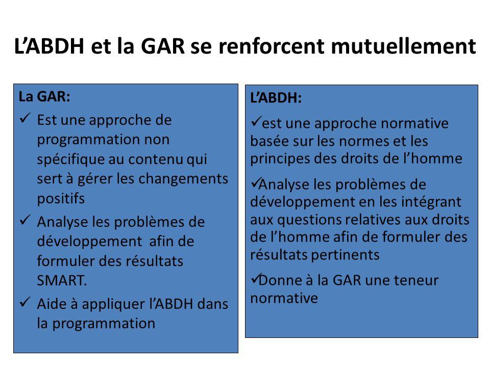 LABDH et la GAR se renforcent mutuellement La GAR: Est une approche de programmation non spécifique au contenu qui sert à gérer les changements positi