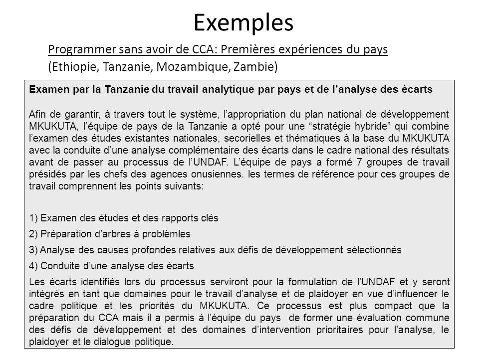 Programmer sans avoir de CCA: Premières expériences du pays (Ethiopie, Tanzanie, Mozambique, Zambie) Exemples Examen par la Tanzanie du travail analyt