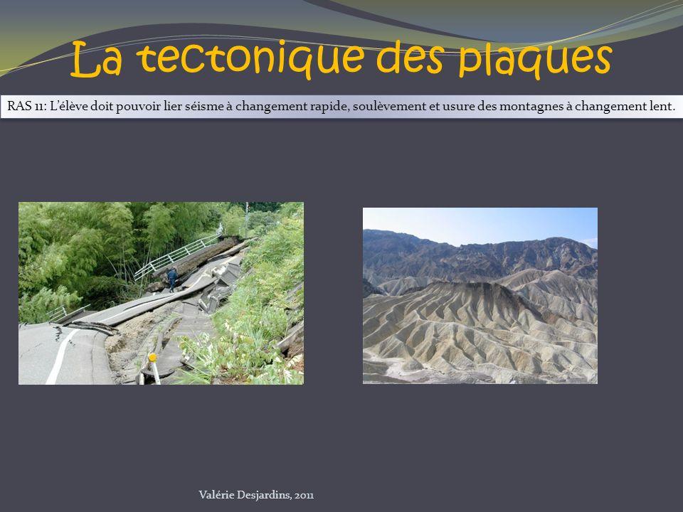 La tectonique des plaques RAS 11: Lélève doit pouvoir lier séisme à changement rapide, soulèvement et usure des montagnes à changement lent. Valérie D