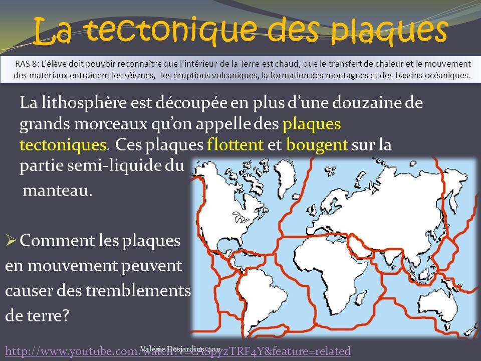La tectonique des plaques La lithosphère est découpée en plus dune douzaine de grands morceaux quon appelle des plaques tectoniques. Ces plaques flott
