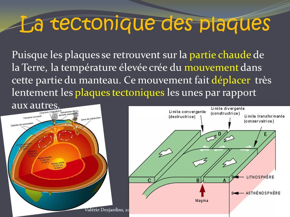 Puisque les plaques se retrouvent sur la partie chaude de la Terre, la température élevée crée du mouvement dans cette partie du manteau. Ce mouvement