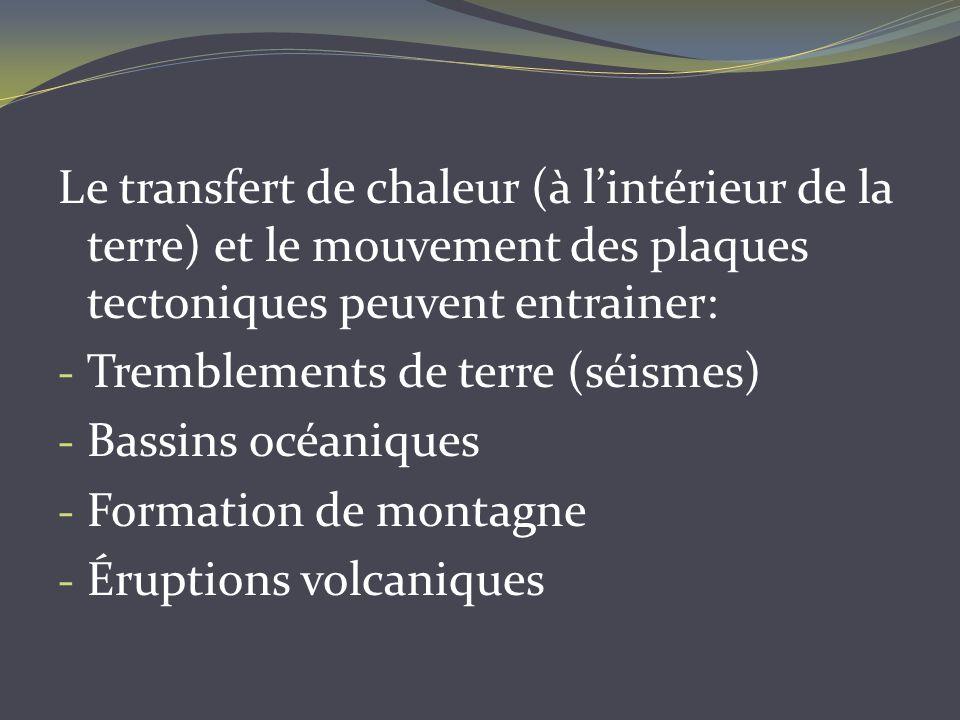 Le transfert de chaleur (à lintérieur de la terre) et le mouvement des plaques tectoniques peuvent entrainer: - Tremblements de terre (séismes) - Bass