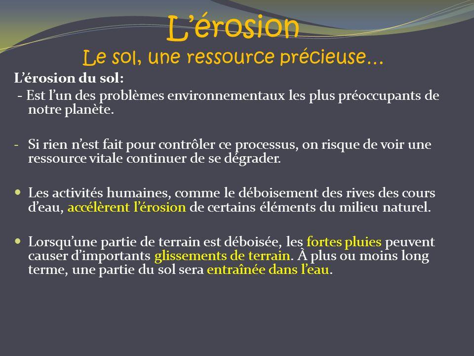 Lérosion Le sol, une ressource précieuse… Lérosion du sol: - Est lun des problèmes environnementaux les plus préoccupants de notre planète. - Si rien