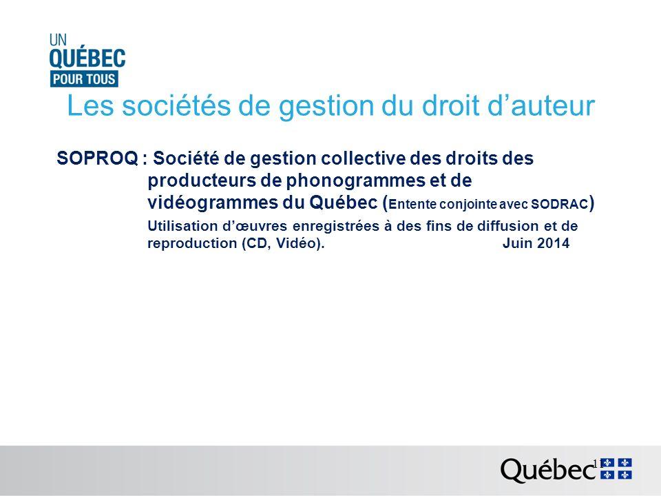 Les sociétés de gestion du droit dauteur SOPROQ : Société de gestion collective des droits des producteurs de phonogrammes et de vidéogrammes du Québec ( Entente conjointe avec SODRAC ) Utilisation dœuvres enregistrées à des fins de diffusion et de reproduction (CD, Vidéo).