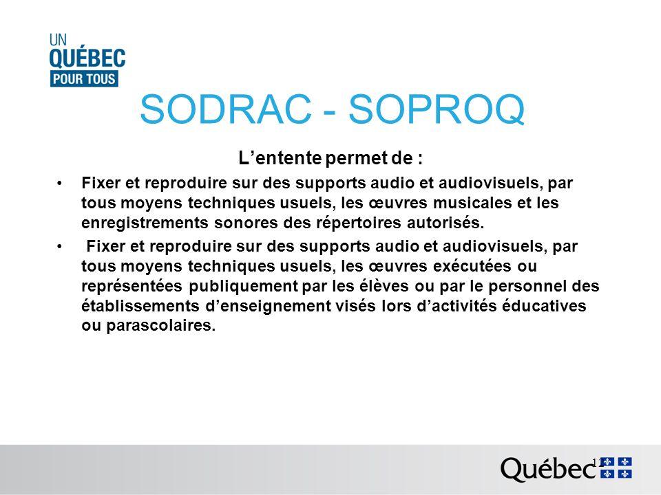 SODRAC - SOPROQ Lentente permet de : Fixer et reproduire sur des supports audio et audiovisuels, par tous moyens techniques usuels, les œuvres musicales et les enregistrements sonores des répertoires autorisés.