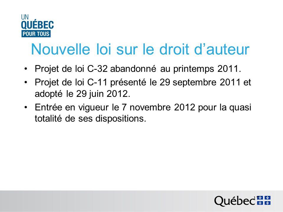 Nouvelle loi sur le droit dauteur Projet de loi C-32 abandonné au printemps 2011.