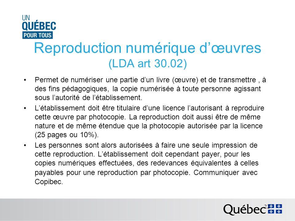 Reproduction numérique dœuvres (LDA art 30.02) Permet de numériser une partie dun livre (œuvre) et de transmettre, à des fins pédagogiques, la copie numérisée à toute personne agissant sous lautorité de létablissement.