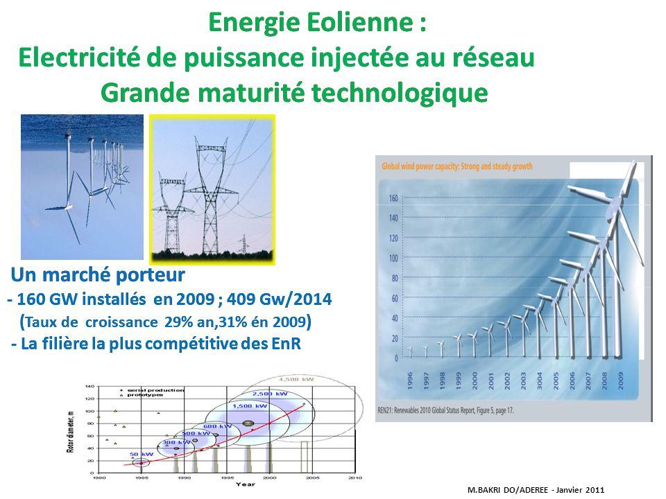 Energie Eolienne : Electricité de puissance injectée au réseau Grande maturité technologique Un marché porteur - 160 GW installés en 2009 ; 409 Gw/201