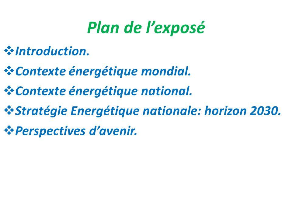 Spécificités énergétiques nationales en pourcentage Forte dépendance de lextérieur97,5% Prédominance des produits pétroliers60% Montée du charbon26% Introduction du gaz naturel depuis 20053,7% Faible participation des énergies renouvelables2,1% Lourde facture énergétique71Mds MAD Explosion de la subvention des produits pétroliers23Mds MAD Croissance soutenue de la demande: -Énergie primaire -Électricité (2003 - 2008) 5%/an 7,5%/an Part de lélectricité importée en 2008 dans : -lénergie primaire -la consommation électrique 7% 17%