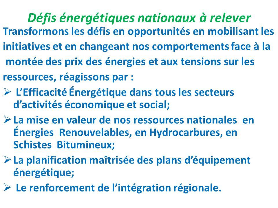 Défis énergétiques nationaux à relever Transformons les défis en opportunités en mobilisant les initiatives et en changeant nos comportements face à l