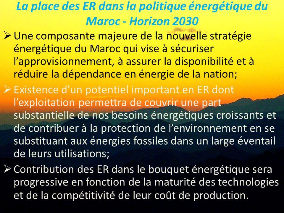 La place des ER dans la politique énergétique du Maroc - Horizon 2030 Une composante majeure de la nouvelle stratégie énergétique du Maroc qui vise à