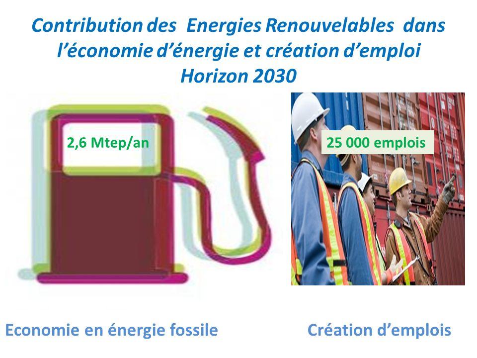 Contribution des Energies Renouvelables dans léconomie dénergie et création demploi Horizon 2030 Economie en énergie fossile Création demplois 2,6 Mte