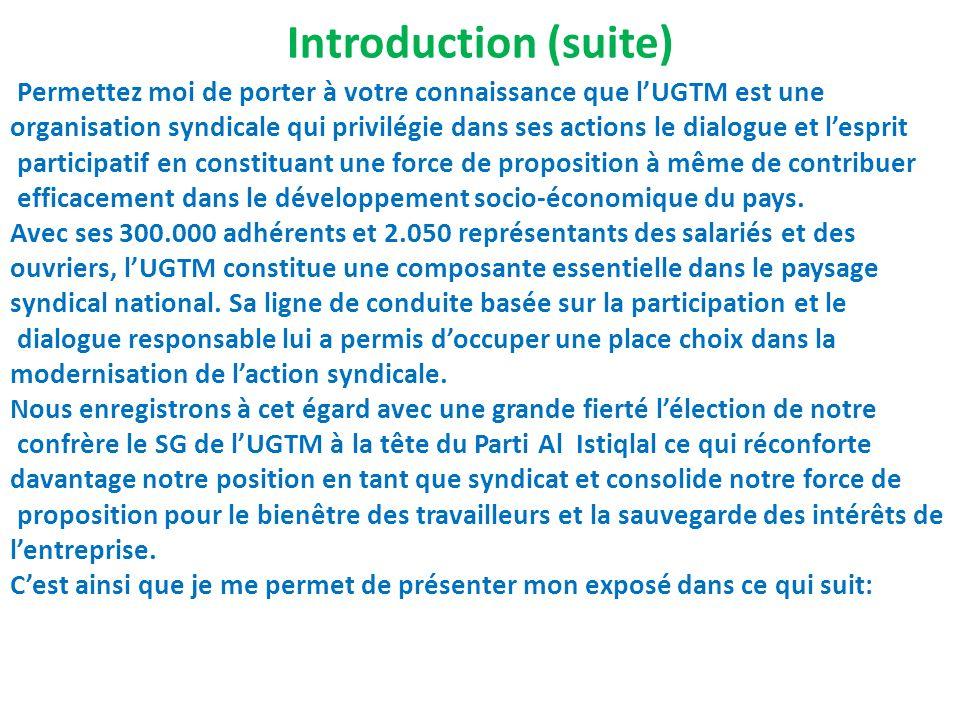 Introduction (suite) Permettez moi de porter à votre connaissance que lUGTM est une organisation syndicale qui privilégie dans ses actions le dialogue