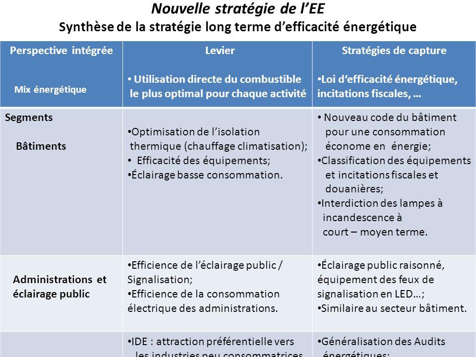 Nouvelle stratégie de lEE Synthèse de la stratégie long terme defficacité énergétique Perspective intégrée Mix énergétique Levier Utilisation directe