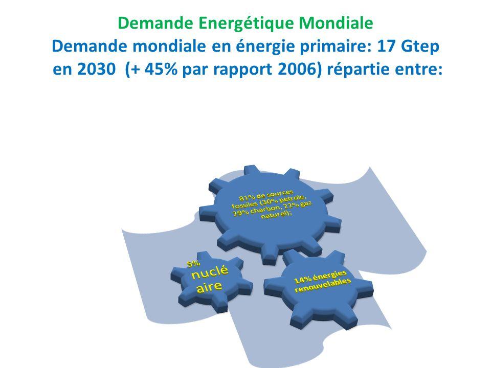 Demande Energétique Mondiale Demande mondiale en énergie primaire: 17 Gtep en 2030 (+ 45% par rapport 2006) répartie entre: