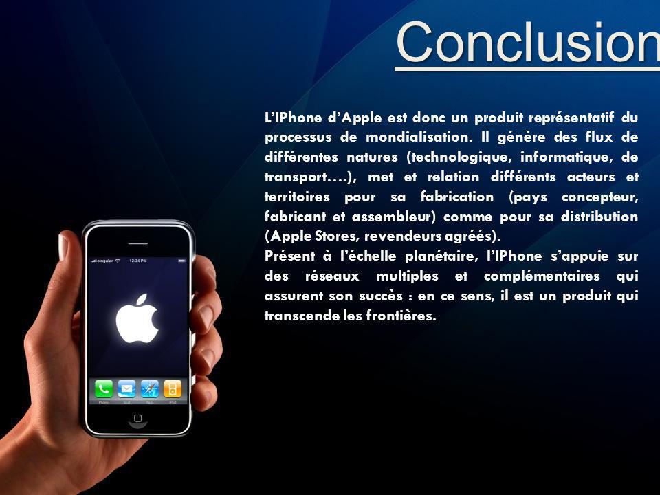 Conclusion LIPhone dApple est donc un produit représentatif du processus de mondialisation. Il génère des flux de différentes natures (technologique,
