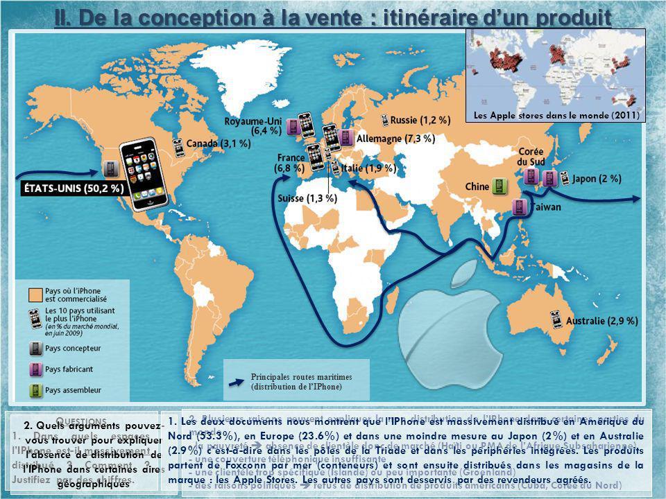 2. Plusieurs raisons peuvent expliquer la non distribution de lIPhone dans certaines parties du monde : - la pauvreté absence de clientèle donc de mar