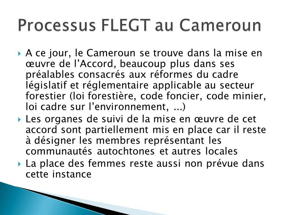 A ce jour, le Cameroun se trouve dans la mise en œuvre de lAccord, beaucoup plus dans ses préalables consacrés aux réformes du cadre législatif et rég