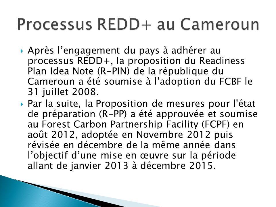 Après lengagement du pays à adhérer au processus REDD+, la proposition du Readiness Plan Idea Note (R-PIN) de la république du Cameroun a été soumise