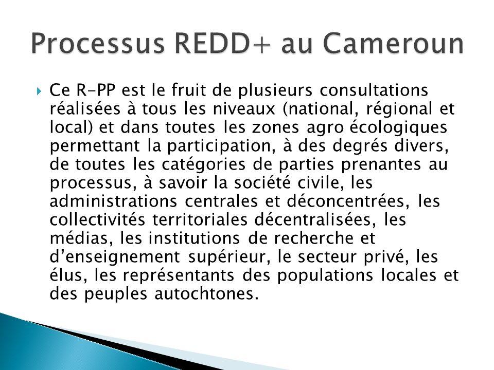 Ce R-PP est le fruit de plusieurs consultations réalisées à tous les niveaux (national, régional et local) et dans toutes les zones agro écologiques p