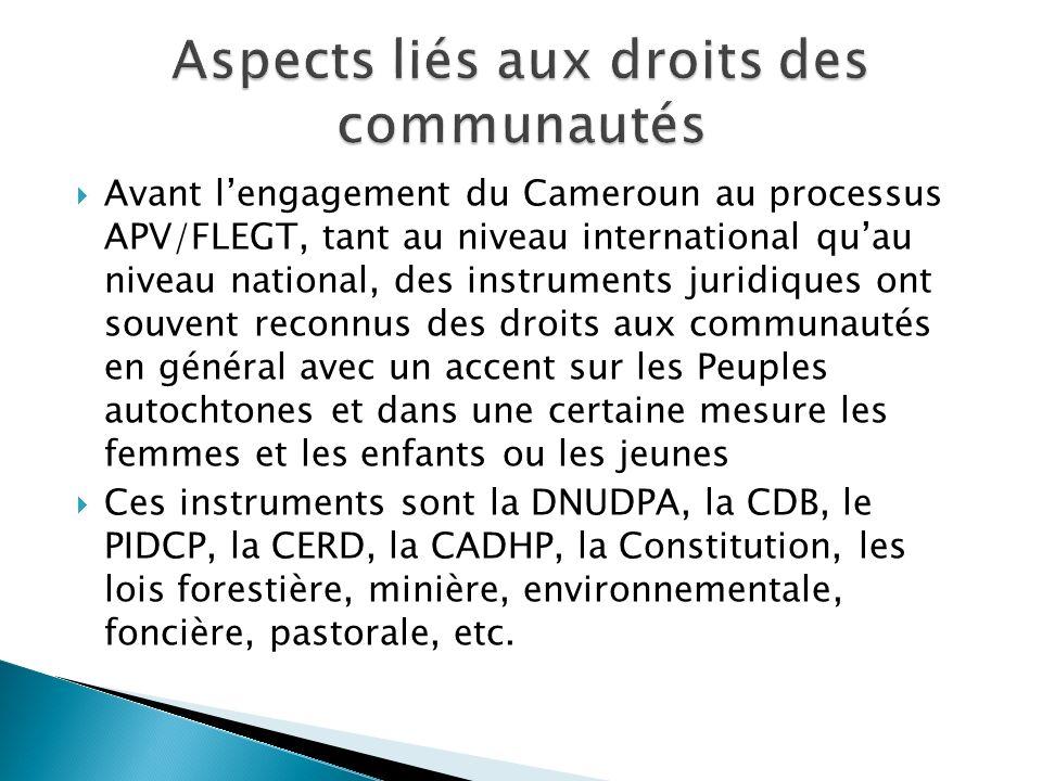 Avant lengagement du Cameroun au processus APV/FLEGT, tant au niveau international quau niveau national, des instruments juridiques ont souvent reconn