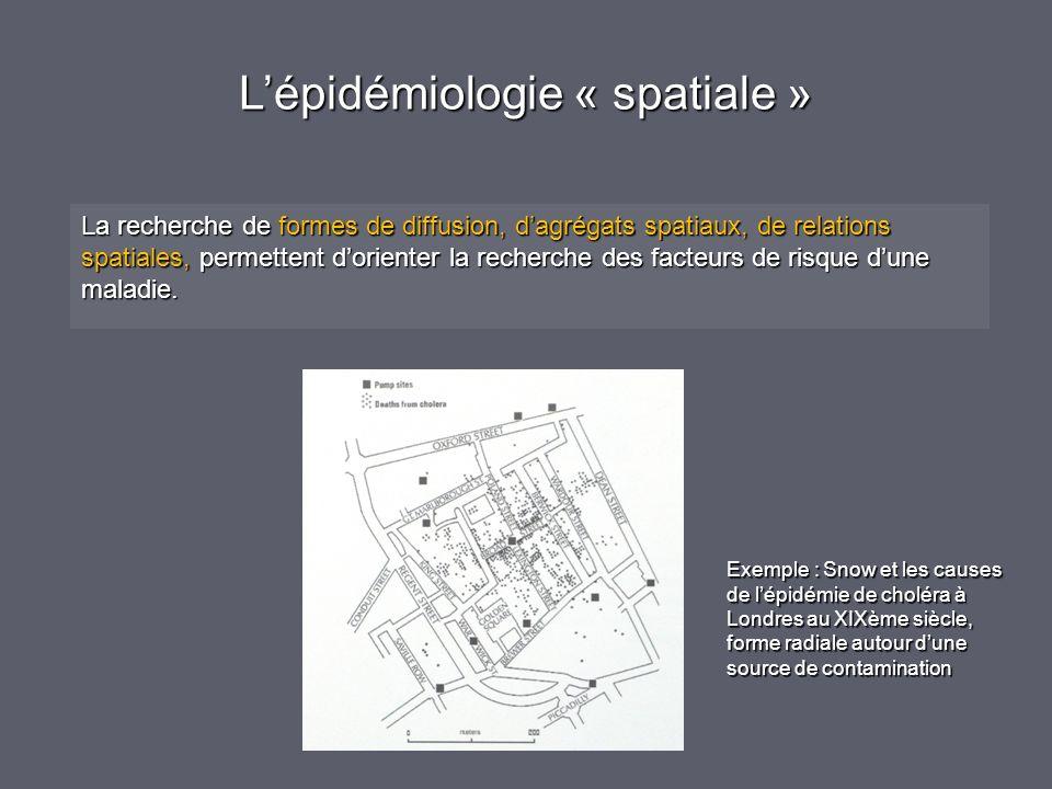 Lépidémiologie « spatiale » La recherche de formes de diffusion, dagrégats spatiaux, de relations spatiales, permettent dorienter la recherche des facteurs de risque dune maladie.