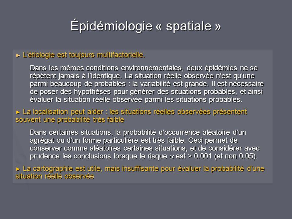 Épidémiologie « spatiale » Létiologie est toujours multifactorielle.