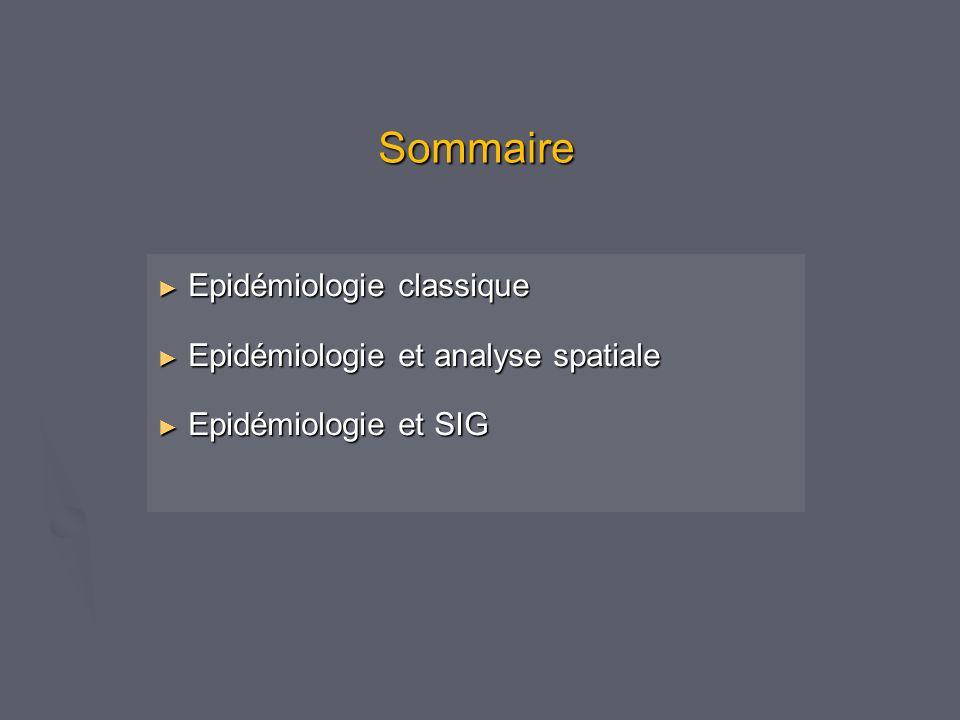 Sommaire Epidémiologie classique Epidémiologie classique Epidémiologie et analyse spatiale Epidémiologie et analyse spatiale Epidémiologie et SIG Epidémiologie et SIG