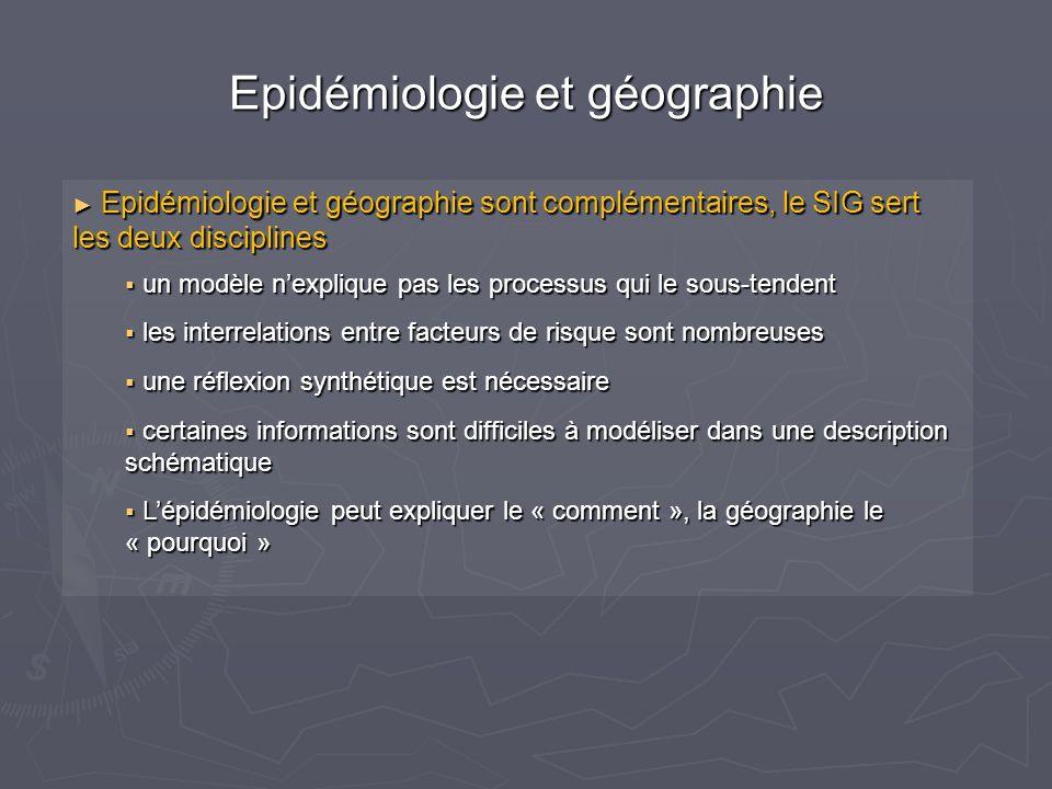 Epidémiologie et géographie Epidémiologie et géographie sont complémentaires, le SIG sert les deux disciplines Epidémiologie et géographie sont complémentaires, le SIG sert les deux disciplines un modèle nexplique pas les processus qui le sous-tendent un modèle nexplique pas les processus qui le sous-tendent les interrelations entre facteurs de risque sont nombreuses les interrelations entre facteurs de risque sont nombreuses une réflexion synthétique est nécessaire une réflexion synthétique est nécessaire certaines informations sont difficiles à modéliser dans une description schématique certaines informations sont difficiles à modéliser dans une description schématique Lépidémiologie peut expliquer le « comment », la géographie le « pourquoi » Lépidémiologie peut expliquer le « comment », la géographie le « pourquoi »